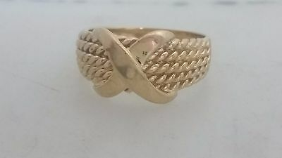 14K Yellow Gold Rope Style  X  Ring Size 7 Milor Italy