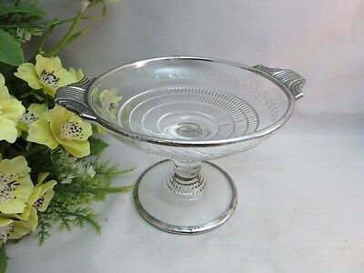 Vtg Duncan Miller Terrace etched glass footed candy dish. Silver trim