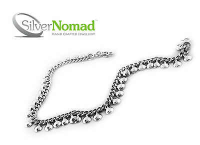 """New 925 Sterling Silver Nomad Womens Ladies Curb Ankle Bracelet Anklet Beach 11"""""""