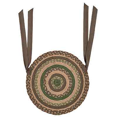 New Primitive Country Brown Green Tan BRAIDED JUTE CHAIR PAD Round Seat Cover