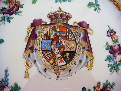 "Hand Painted Armorial Limoges Porcelain Decorado aMano Milan 12 1/2"" Magnificent"