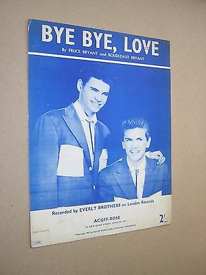 Bye, Bye Love. The Everly Brothers. 1957. Original Vintage Sheet Music Score