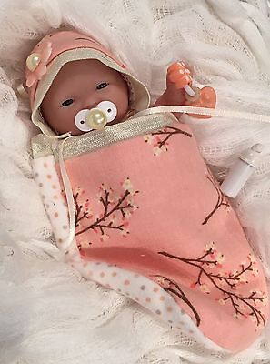 """PEACH 5 pc GiRL Baby DOLL CLOTHES~PaCiFieR~ToY~FOR 5-6"""" Mini Reborn~Berenguer"""