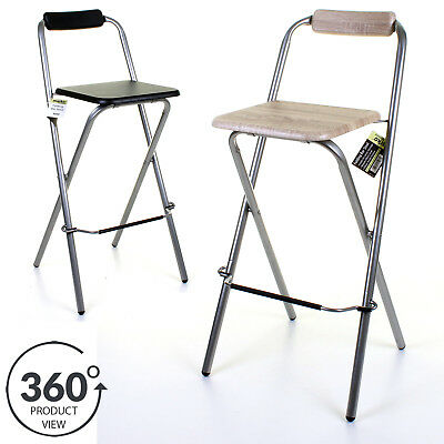 Folding Wooden Bar Stool Chair Breakfast Kitchen Seating Silver Frame Seat Home