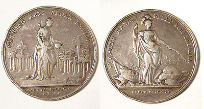 GB George II. 1736 Jernigan's Prize Lottery silver Medal.  Queen Caroline, VF.