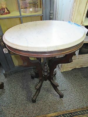 """Antique marble top oval lamp table ornate 21"""" by 16"""", 29.5"""" tall"""