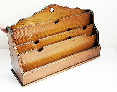 Wonderful Original Vintage Wooden Desk / Letter Tidy with Many Compartments