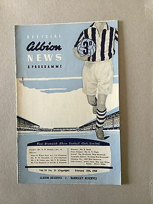 WEST BROMWICH ALBION Res V BARNSLEY Res 1959/0.