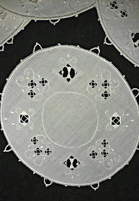 6 Linen Doily Rounds Italian Cutwork Drawn Lace Vintage Edwardian 1920s