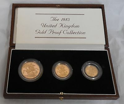 1983 Great Britain GB 3 Coin Gold Sovereign Proof Set w/ Box & COA