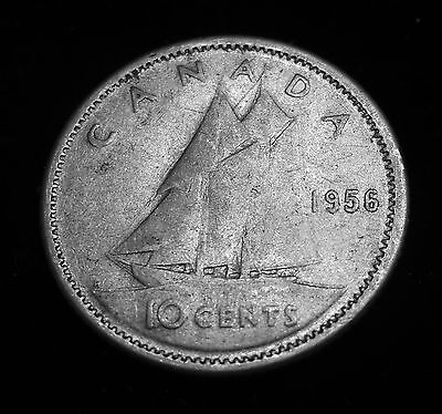 Canadian 10-Cents 1956 - 80% Silver - Circulated