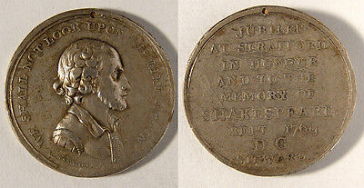 GB. 1769 Shakespeare Jubilee Medal in silver.  32mm, VF and scarce.