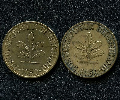 """Germany 1950 """"D""""  & 1950 """"F"""" 5 Pfenning Coins"""