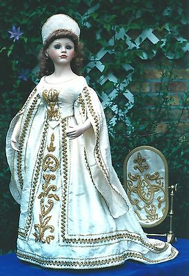 "16-17""ANTIQUE/MODERN ARTIST LADY DOLL@1830's FRENCH COURT GOWN/DRESS&HAT PATTERN"