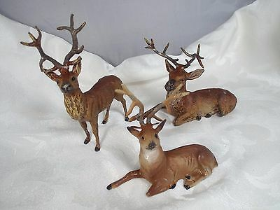3 Antique Lead Metal Reindeer Deer Stag Buck Putz Germany Christmas
