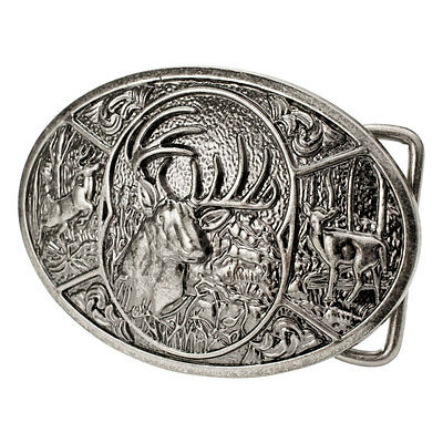 Silver Deer Collage Belt Buckle Southern Hunting Forest Head Antlers Buck