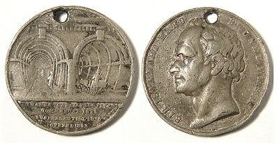 GB, 1843 Opening of the Thames tunnel.   38mm, white metal. Some wear and knocks