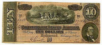 1864 Richmond Confederate States $10 Dollar Note #38169