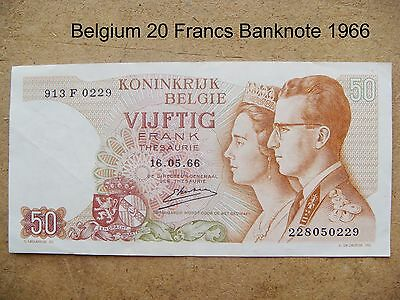 1 x Belgium 20 Francs Banknote dated 1966  Good condition