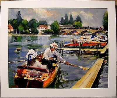 impressionist oil painting, Boating on the (River) Thames, Richmond, Lawrence