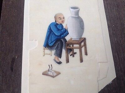 Antique CHINESE  Man Making Vase Pottery   Painting Rice Pith Paper