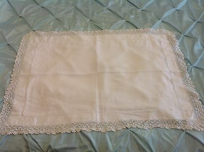 Vintage Antique White Cotton Victorian Handmade Lace Embroidered Pillow Case
