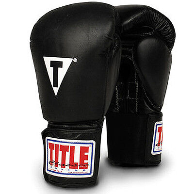 Title Boxing Classic Hook & Loop Leather Training Gloves - Black