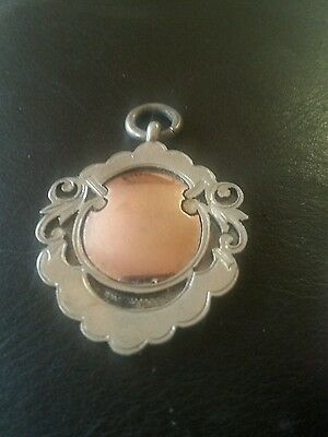 Lovely Solid Silver Art Deco Fob Watch Medal - Hallmarked - Rose Gold Centre