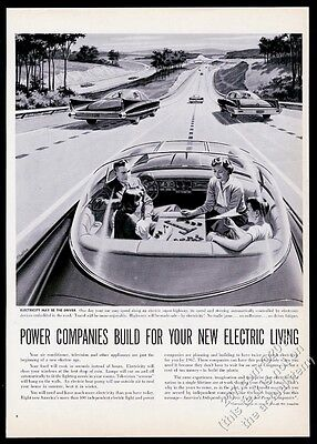 1957 future streamlined bubble top self-driving car art vintage print ad