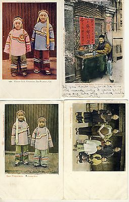 4 Postcards Of China Town Residents San Francisco California America