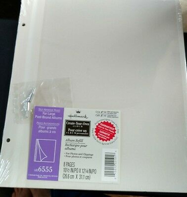 Hallmark AR6555 Self-Adhesive Refill ALBUM Pages For Large Post-Bound 8 SEALED