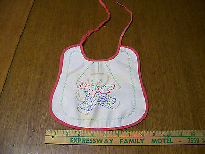 Vintage Embroidered Kitty Cat Baby Bib