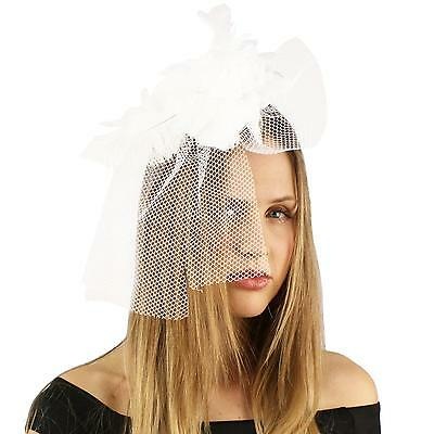 Feather Rose Floral Fishnet Hat Fascinator Brooch Clip Head Piece Cocktail White