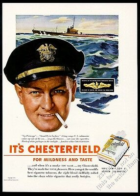 1943 US Navy submariner captain photo Chesterfield cigarettes vintage print ad