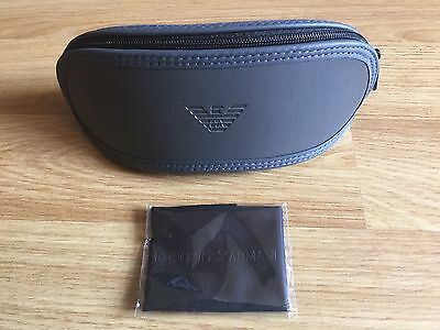 Brand New Charcoal Grey Emporio Armani Soft Glasses Case & Black Cleaning Cloth