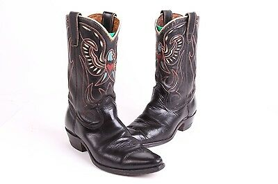 Vtg 50S Texas Rockabilly Cut Out Western Leather Cowboy Boots Mens 8.5 D
