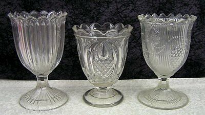 (3) Antique EAPG Flint Glass Spooners Prism, Ribbed Grape, New England Pineapple