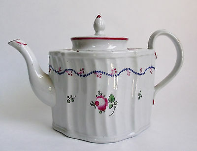 Antique NEW HALL Pottery TEAPOT ROSE Painted Porcelain English Pattern Export
