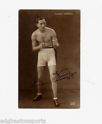 Lucien Vinez France European Lightweight Champion 1920's Original Postcard