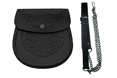 Celtic Highlander Embossed Black Leather Scottish Kilt Bag Sporran Pouch & Belt