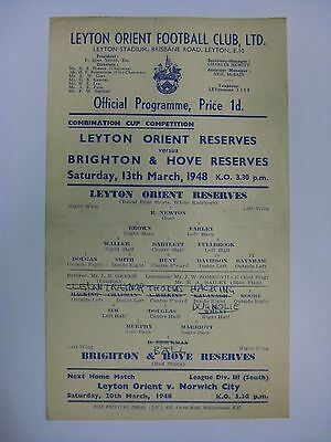 Leyton Orient Reserves v Brighton & Hove Albion Reserves 1947/48 Cup Programme