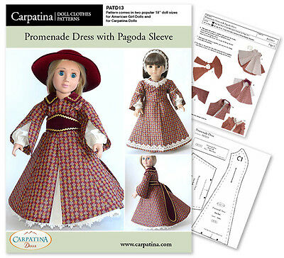 "1850s Pagoda Sleeve 18"" Doll Dress Sewing Pattern fit Carpatina & American Girl"