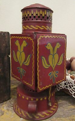 Antique 19c Red Painted Tole Tinware Folk Art Darkroom Safelite Lantern