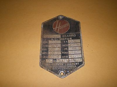 Old Aluminum or Metal Equipment Tag Label Hoover Company