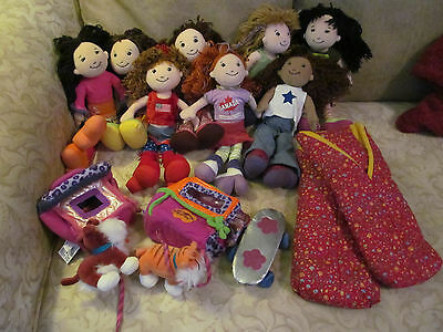 Lot of 7 Groovy Girls Plush Dolls Plus Pet Carriers/Pets, Sleeping Bags & More