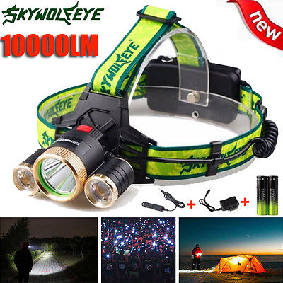 10000LM T6 3x CREE XM-L LED Headlamp Head Torch Rechargeable Outdoor Headlight