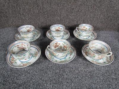 6 ANTIQUE 1800s PORCELAIN CHINESE TEA CUPS & SAUCERS, RARE LITHOPHANE CUT DESIGN
