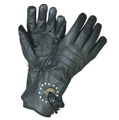 Motorcycle Biker Black Leather Gauntlet Riding Gloves With Concho & Studs XL