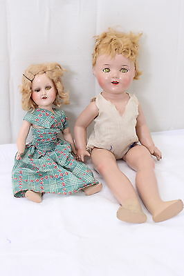 """Antique Composition Dolls Eee Gee  15"""" and 21"""" Lot of 2"""