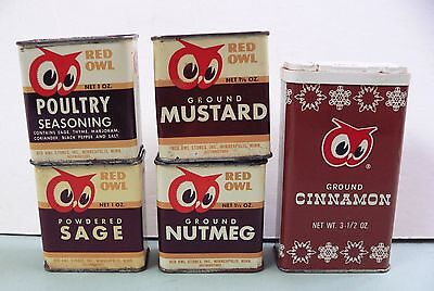 Vtg Red Owl Metal Spice Tin Lot Cinnamon Sage Nutmeg Mustard Poultry Seasoning